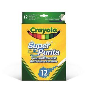 CRAYOLA ROTULADORES 12 COLORES SUPER PUNTA