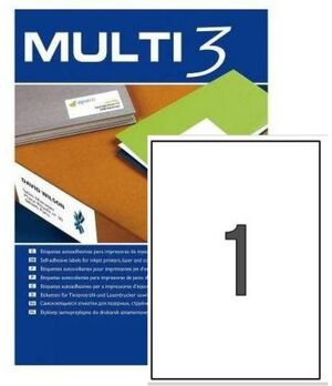 MULTI3 ETIQUETAS A4 ADHESIVAS 210 X 297MM. 100 HOJAS