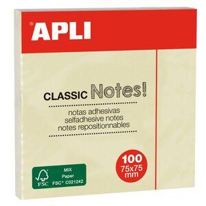 APLI NOTAS ADHESIVAS CLASSIC 75 X 75MM. AMARILLO