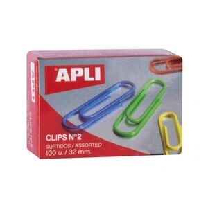 APLI CLIPS Nº 2 COLORES SURTIDOS 32MM. 100 UNDS.