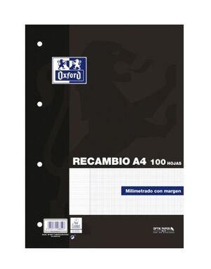 OXFORD RECAMBIO A4 MILIMETRADO 90GRS. 100 HOJAS