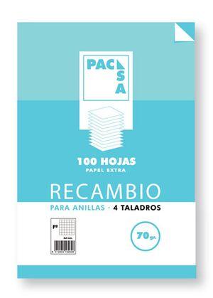 PACSA RECAMBIO A4 HORIZONTAL 8MM. 100 HOJAS