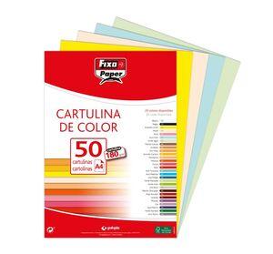 FIXO CARTULINAS A4 180G. 50 UNDS. AMARILLO LIMÓN
