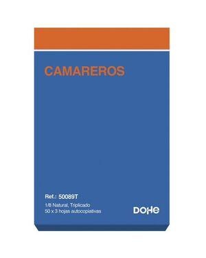 DOHE TALONARIO CAMARERO 8° NATURAL TRIPLICADO