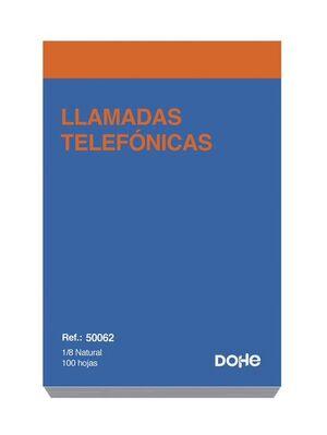 DOHE TALONARIO LLAMADAS TELÉFONO 8° NATURAL 100 HOJAS