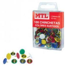 DOHE CHINCHETAS METÁLICAS MTL COLOR 100 UNDS.