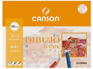 CANSON PAPEL BASIK A4+ CON RECUADRO 10 HOJAS