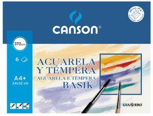 CANSON PAPEL ACUARELA A4+ GRANO MEDIO BASIK 6 HOJAS