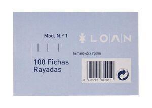 LOAN FICHAS Nº 1 RAYADAS 65 X 95MM. 100 HOJAS