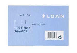LOAN FICHAS Nº 3 RAYADAS 100 X 150MM. 100 HOJAS