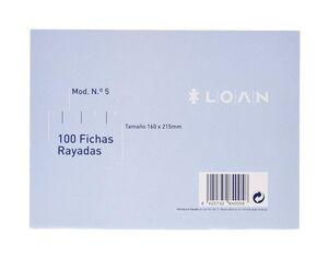 LOAN FICHAS Nº 5 RAYADAS 160 X 215MM. 100 HOJAS