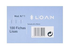 LOAN FICHAS Nº 1 LISAS 65 X 95MM. 100 HOJAS