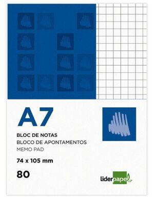 LIDERPAPEL BLOC NOTAS A7 CUADRÍCULA