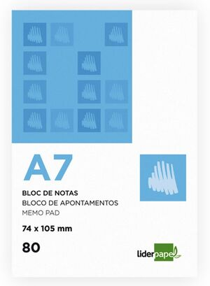 LIDERPAPEL BLOC NOTAS A7 LISO