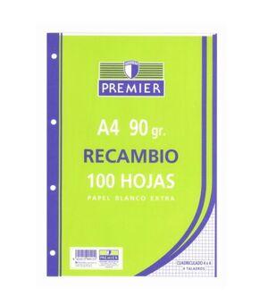 TAURO RECAMBIO A4 CUADRÍCULA 4MM. 90GRS. 100 HOJAS