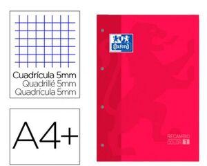 OXFORD RECAMBIO A4 CUADRÍCULA 5MM. ROJO