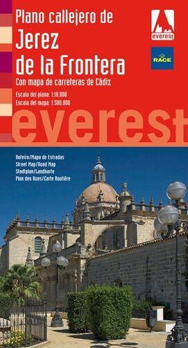 PLANO CALLEJERO DE JEREZ DE LA FRONTERA. CON MAPA DE CARRETERAS DE CÁDIZ